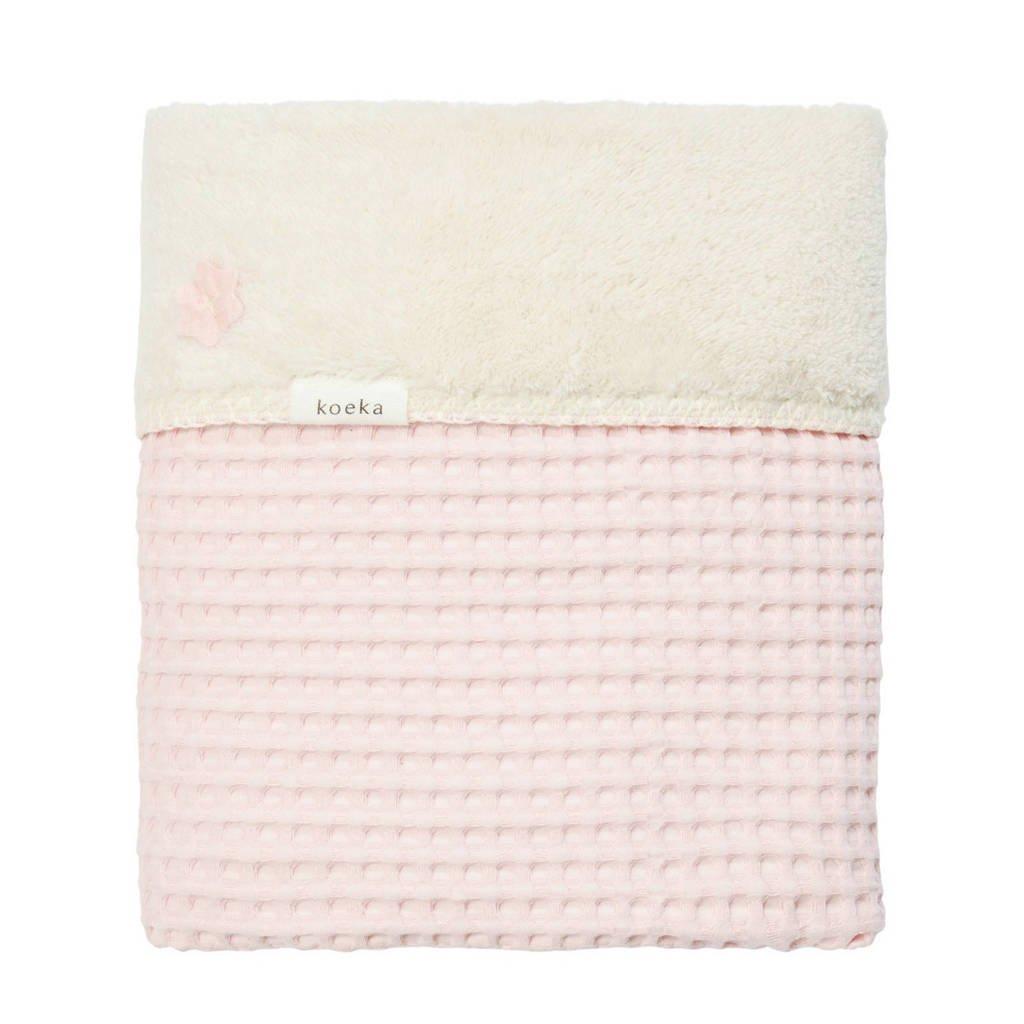 Koeka Oslo baby wiegdeken wafel/teddy 75x100 cm old baby pink, Roze