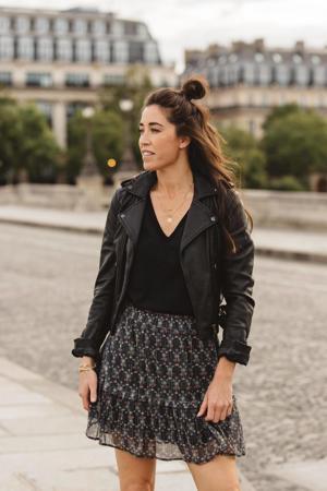 gebloemde semi-transparante rok Lois zwart