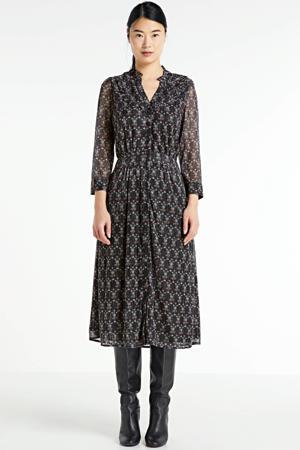 gebloemde semi-transparante blousejurk Ela zwart