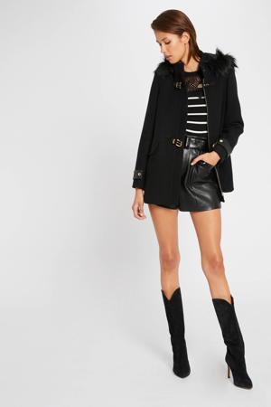 coat met wol zwart