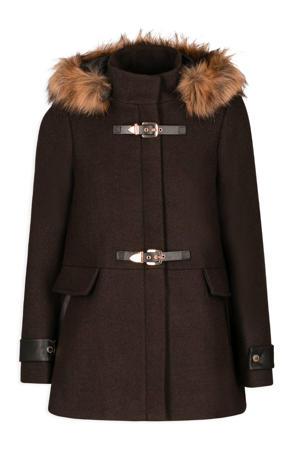 coat met wol donkerbruin