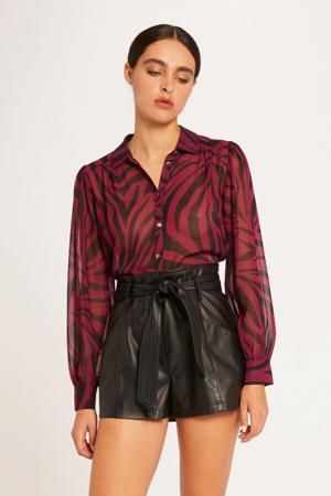 semi-transparante blouse met zebraprint en plooien donkerroze