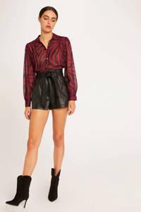 Morgan semi-transparante blouse met zebraprint en plooien donkerroze, Donkerroze