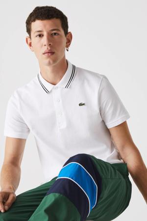 slim fit polo met contrastbies wit