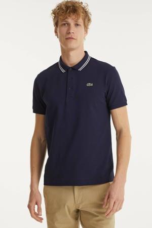 slim fit polo met contrastbies donkerblauw