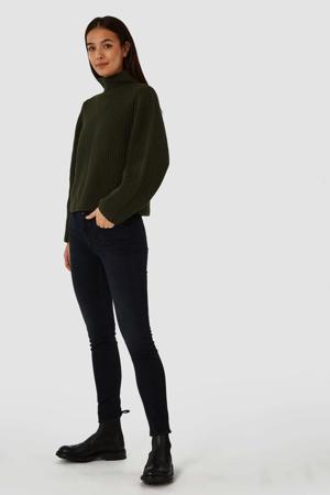 high waist slim fit jeans Juno met biologisch katoen blue black worn
