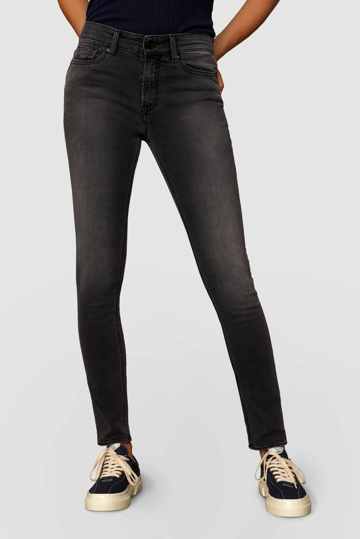 Kings of Indigo high waist slim fit jeans Juno met biologisch katoen grey used, Grey used