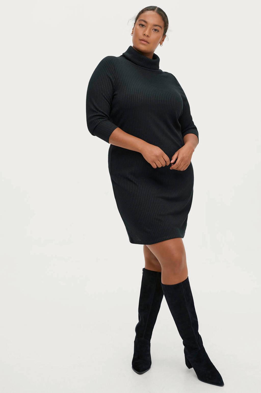 Ellos grofgebreide jurk zwart, Zwart