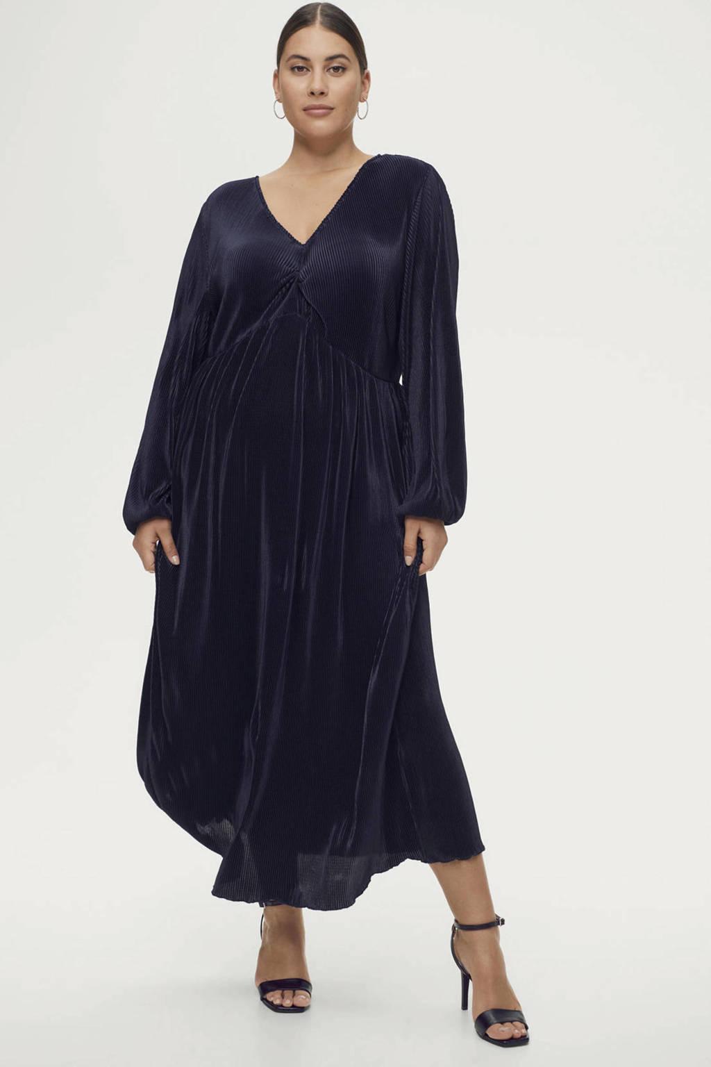 Ellos semi-transparante maxi jurk Amy met plooien donkerblauw, Donkerblauw