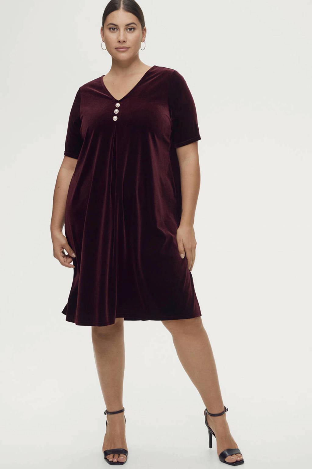 Ellos fluwelen jurk Alisia donkerrood/goud, Donkerrood/goud