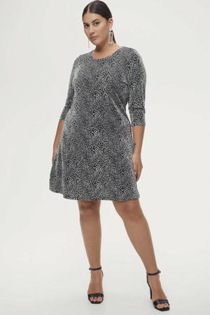 A-lijn jurk Parisa met panterprint en glitters zilver/zwart