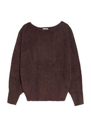 trui met textuur donkerbruin