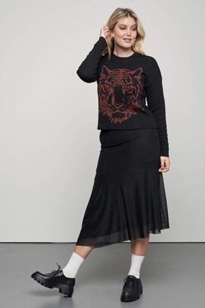 sweater Safari met printopdruk zwart/rood
