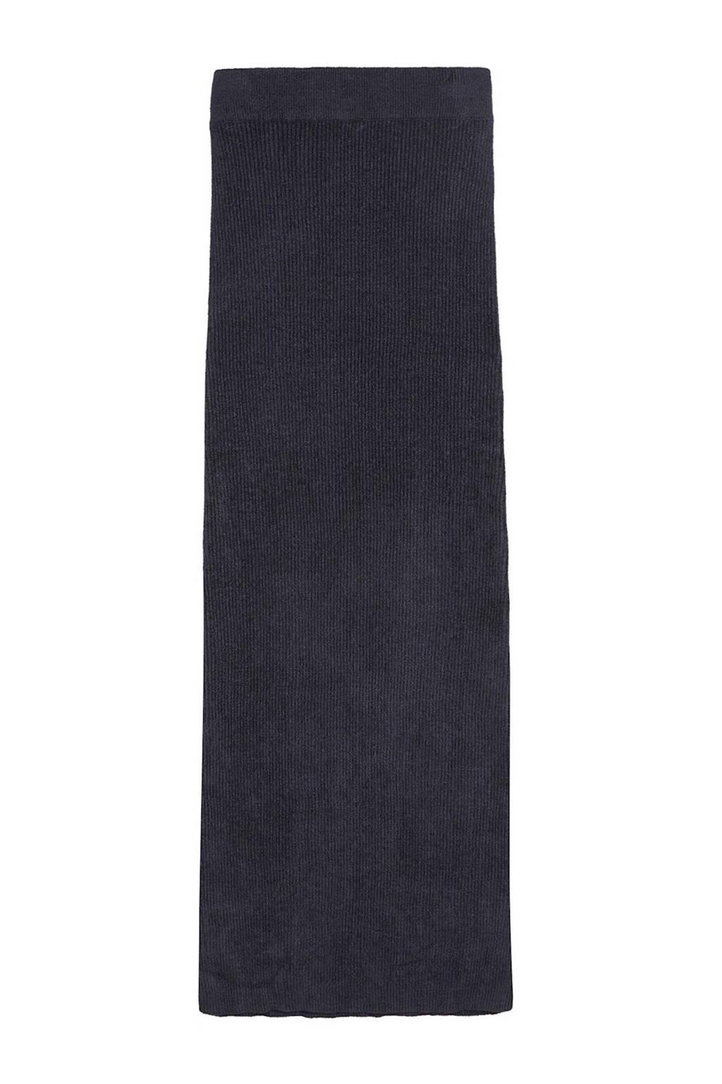 Catwalk Junkie gemêleerde ribgebreide rok Drew donkerblauw, Donkerblauw