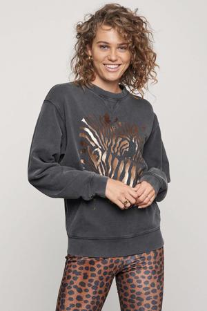 regular fit sweater Zebra van biologisch katoen donkergrijs