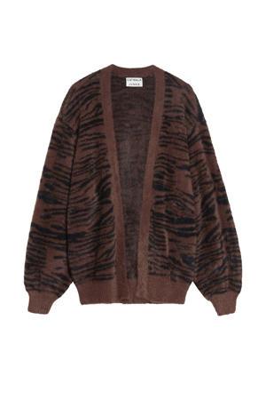 regular fit vest Fuzzy Zebra met zebraprint bruin/zwart