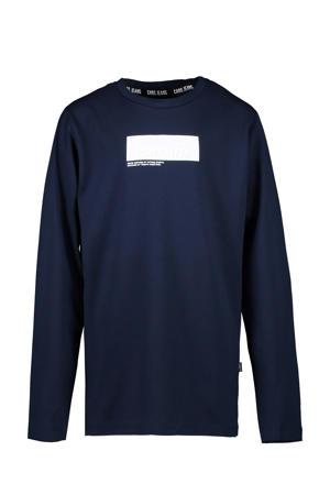 longsleeve Johnes met logo donkerblauw/wit