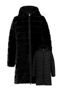 Vingino reversible gewatteerde imitatiebont winterjas Tendely zwart, Zwart