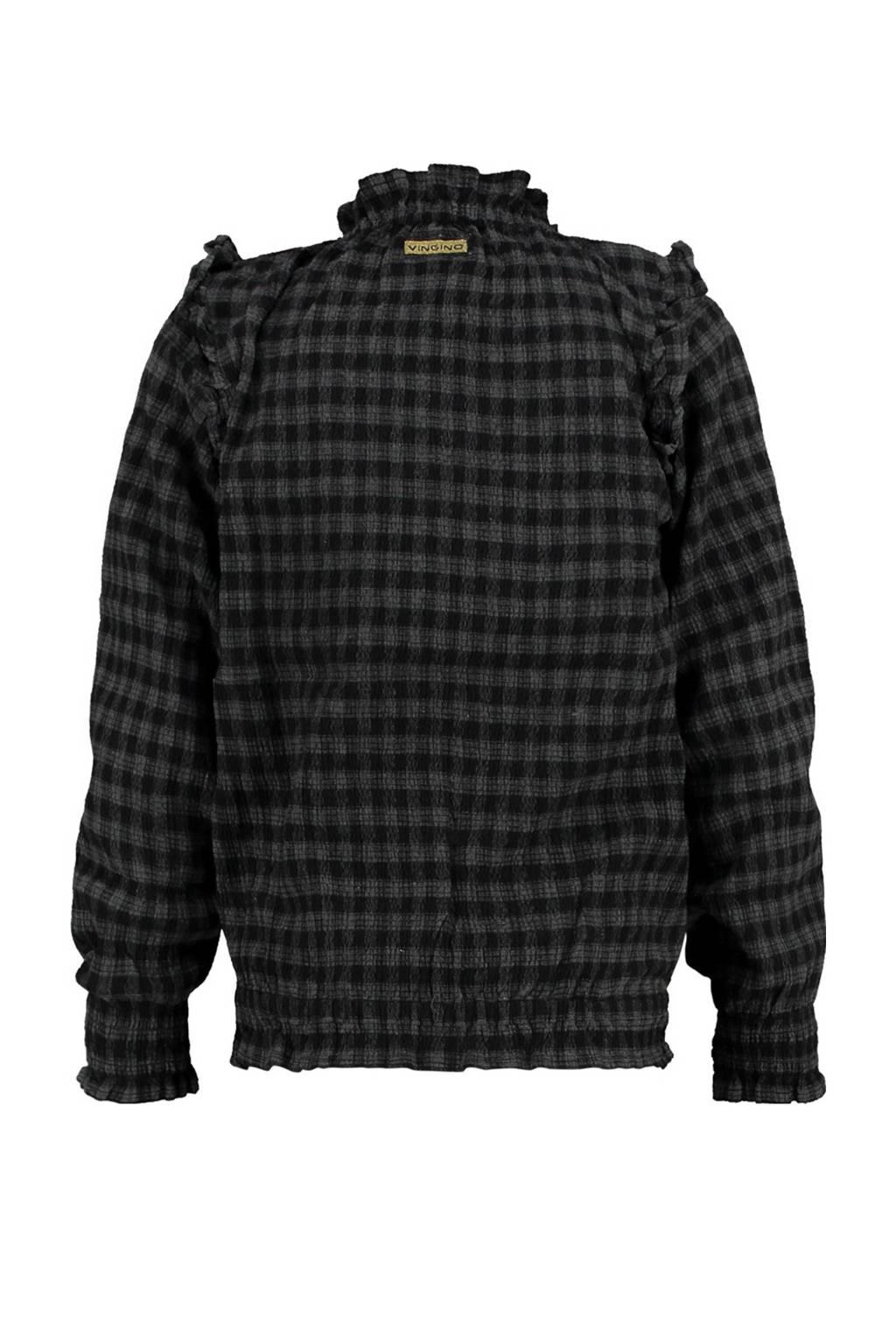 Vingino geruite top Luisa zwart/grijs, Zwart/grijs