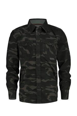overhemd Lexx met camouflageprint donkerblauw/groen