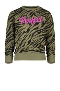 Vingino sweater Nanoek met zebraprint army groen/zwart/roze, Army groen/zwart/roze
