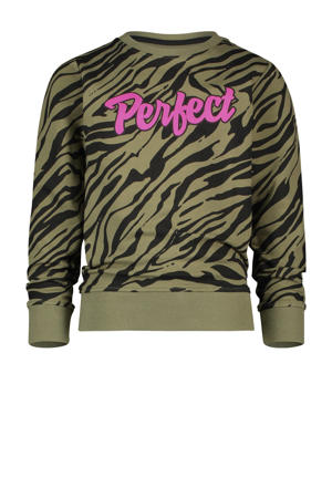 sweater Nanoek met zebraprint army groen/zwart/roze
