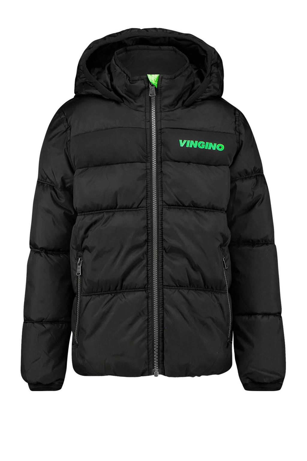 Vingino gewatteerde winterjas Thor met logo zwart, Zwart