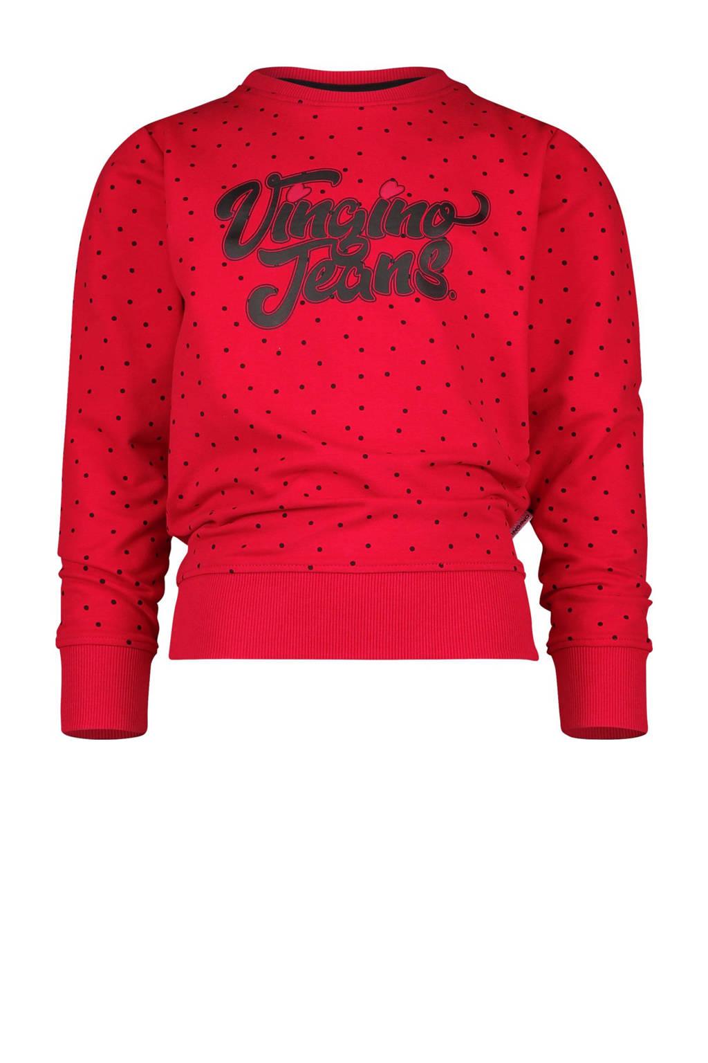 Vingino sweater Nanoek met stippen rood/zwart, Rood/zwart
