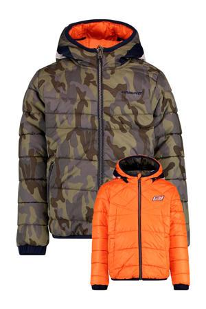reversible gewatteerde winterjas Thaniel met camouflageprint groen/oranje