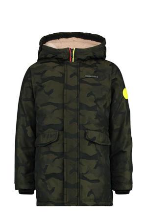 gewatteerde winterjas Tohn met camouflageprint olijfgroen