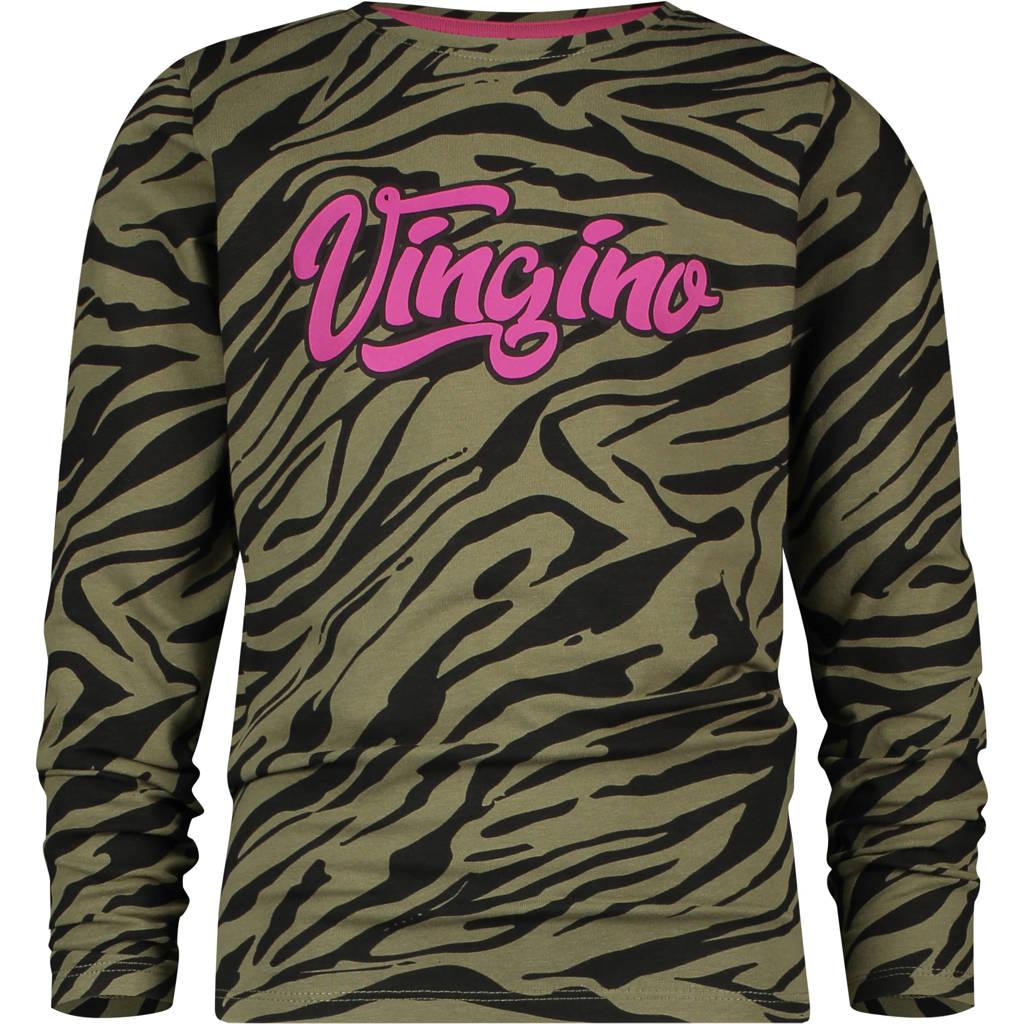 Vingino longsleeve Jannike met zebraprint groen/zwart/roze, Groen/zwart/roze