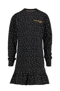 Vingino jurk Palexy met stippen en volant zwart/wit, Zwart/wit