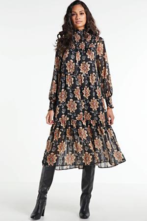 maxi jurk OBJFLORALINA met all over print donkerblauw