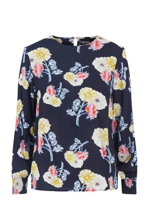 blouse met all over print blauw