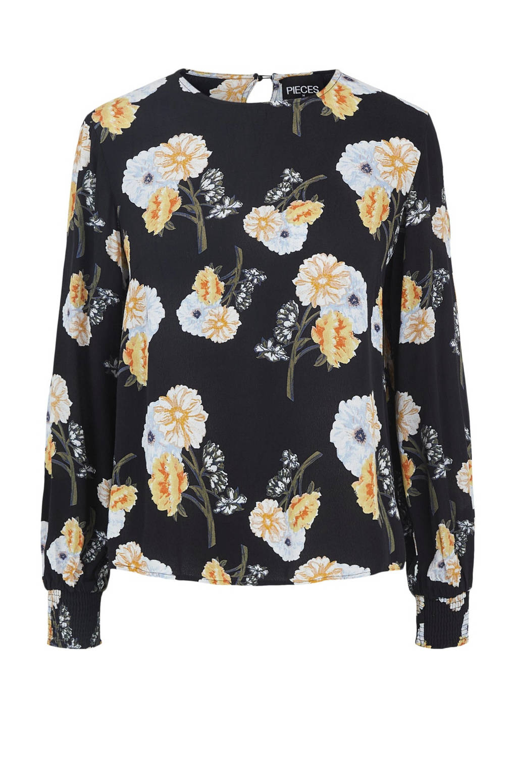 PIECES blouse met all over print zwart, Zwart