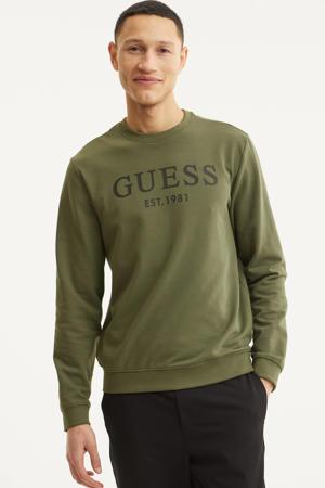 sweater Beau met logo olijfgroen