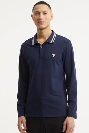 regular fit polo met contrastbies donkerblauw