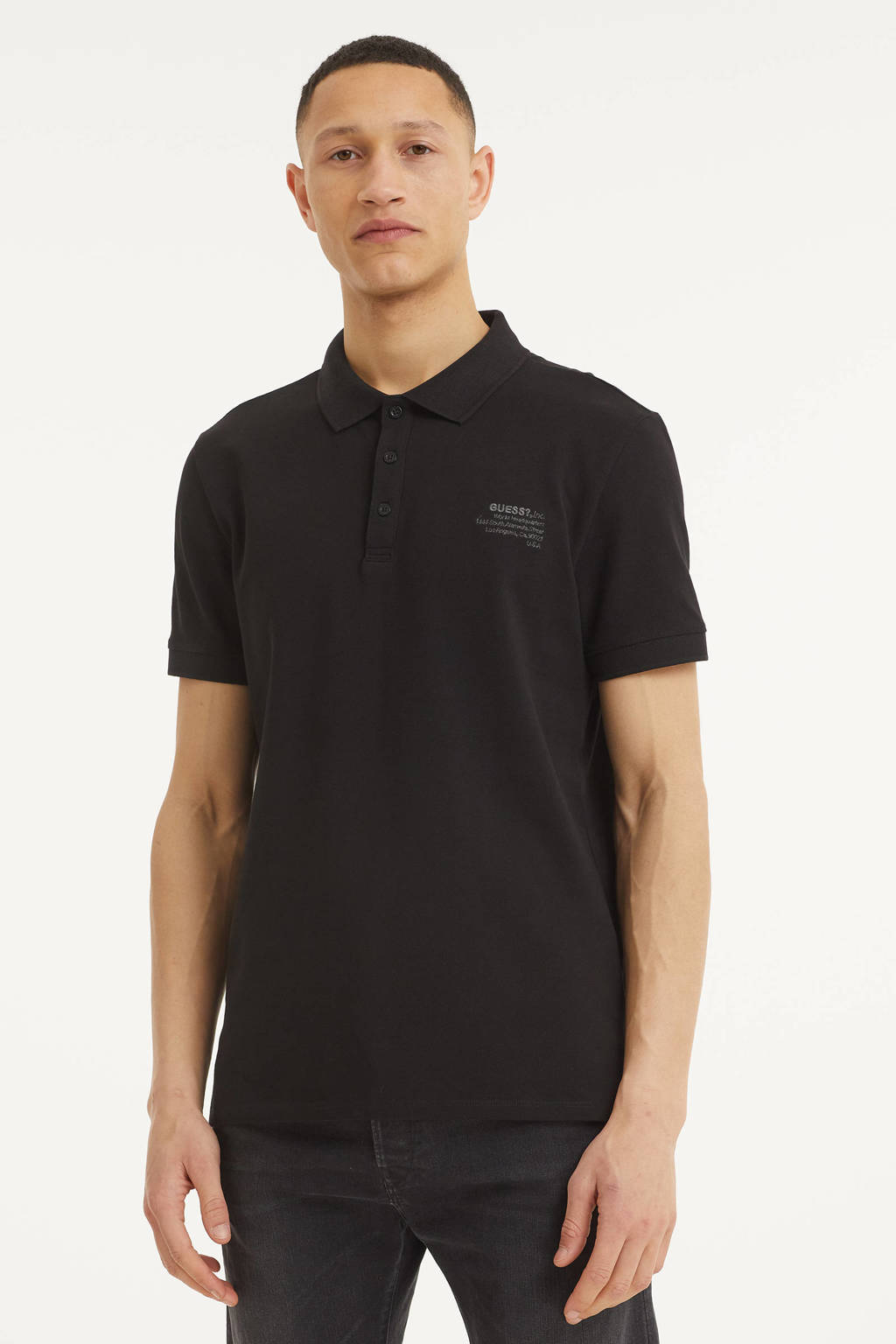 GUESS regular fit polo zwart, Zwart