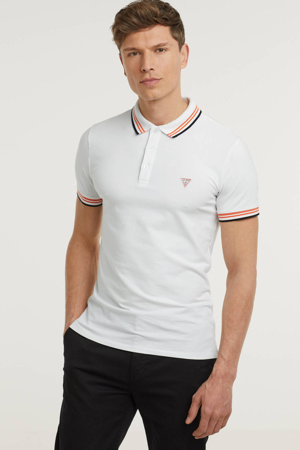 GUESS slim fit polo Nolan met contrastbies wit, Wit