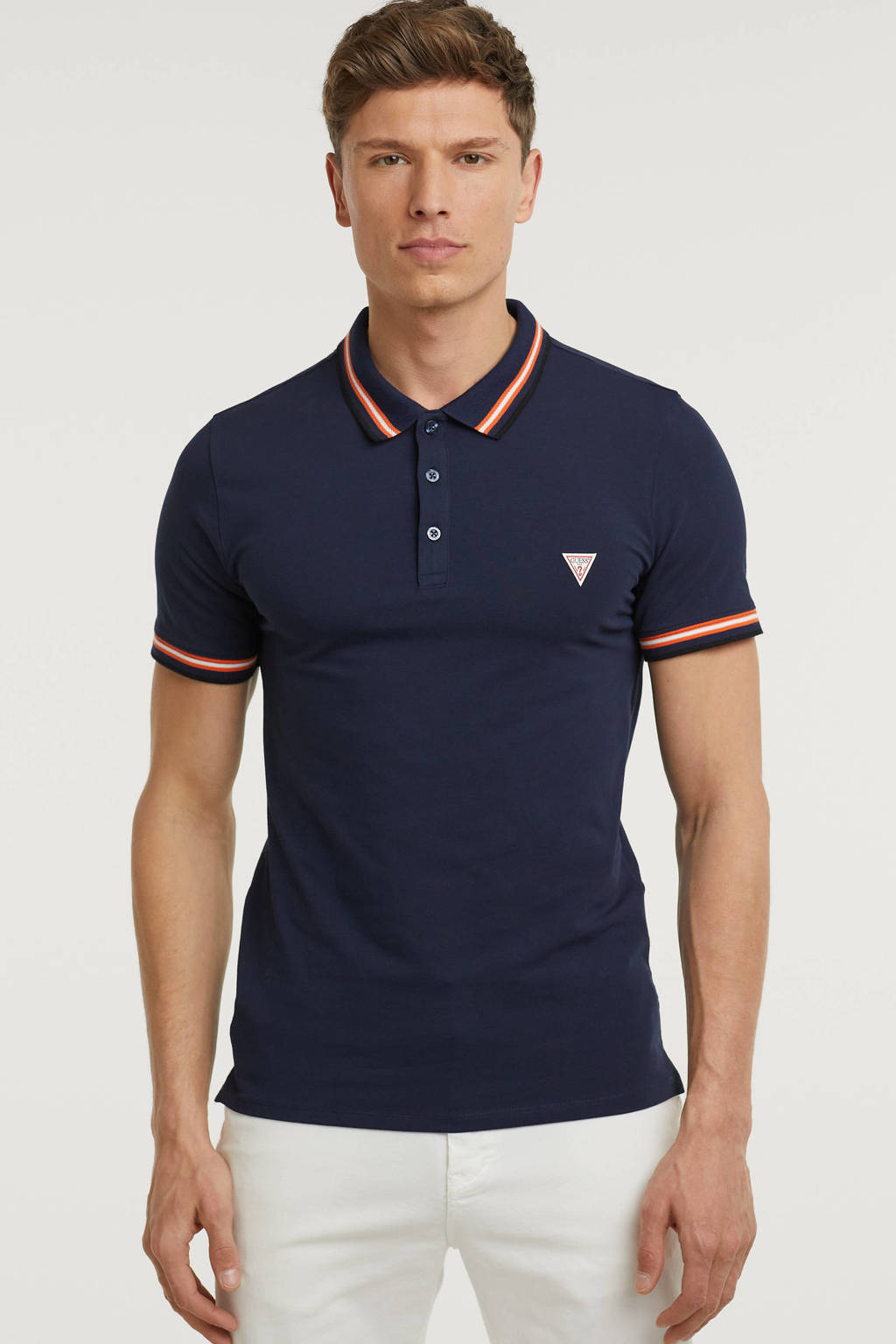 GUESS slim fit polo Nolan met contrastbies donkerblauw, Donkerblauw