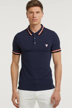 slim fit polo Nolan met contrastbies donkerblauw