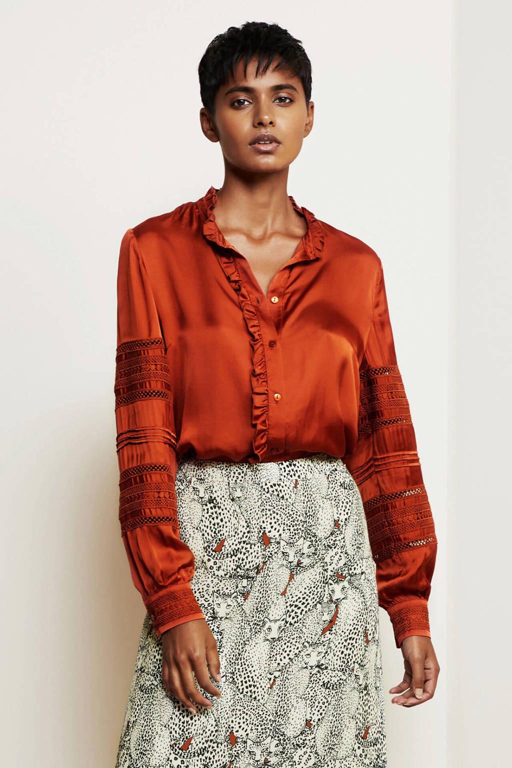 Fabienne Chapot blouse met borduursels oranje, Oranje