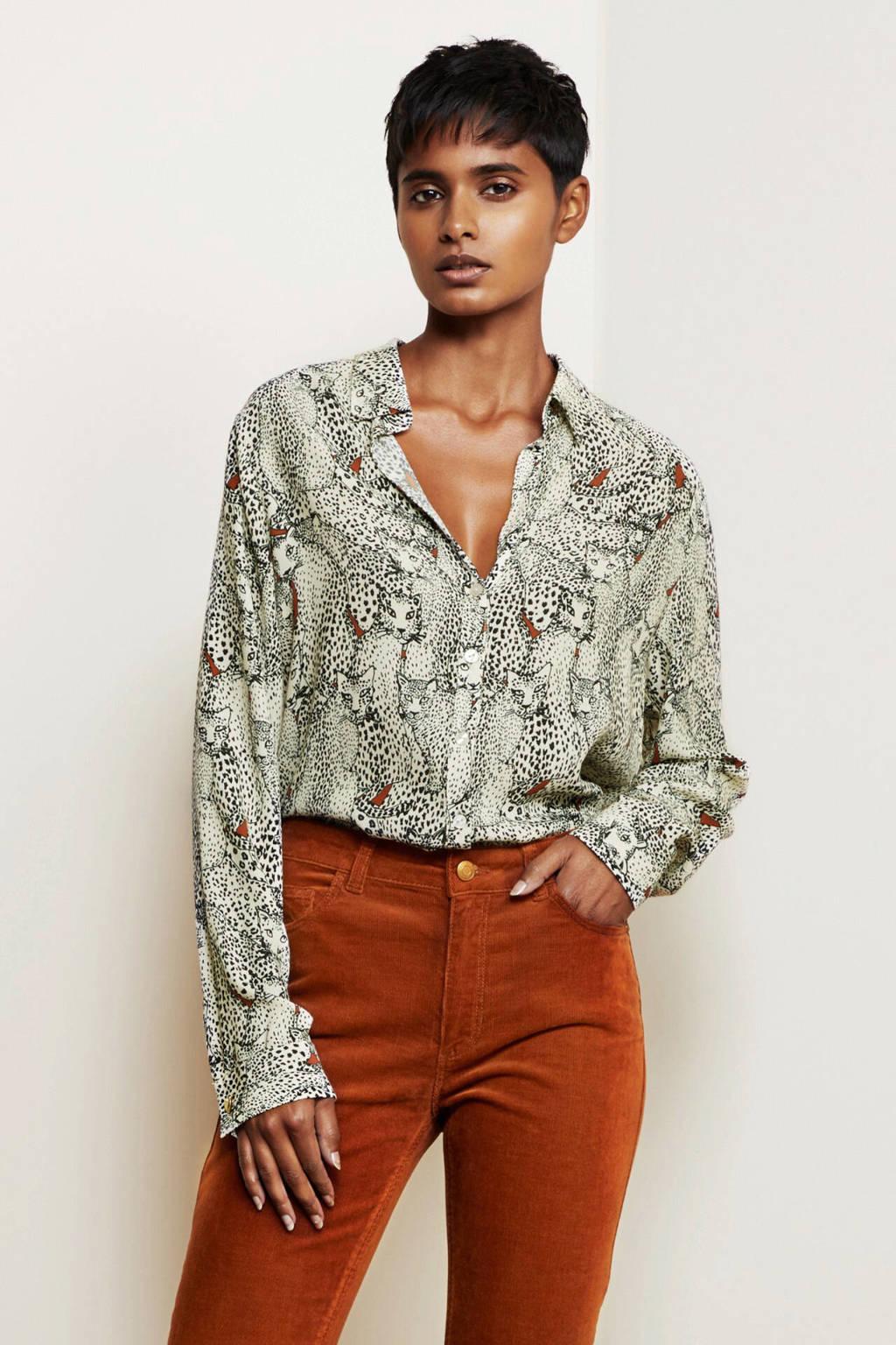 Fabienne Chapot blouse met dierenprint gebroken wit/ zwart, Gebroken wit/ zwart