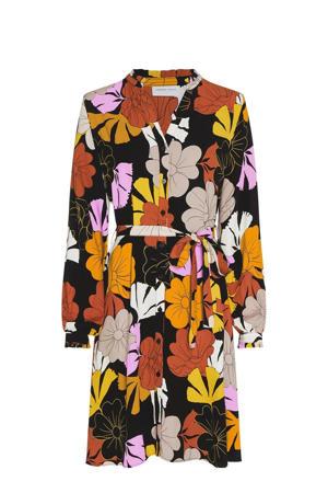 gebloemde blousejurk Dorien zwart/ geel