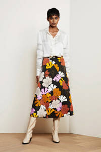 Fabienne Chapot gebloemde rok Claire van gerecycled polyester zwart/ geel, Zwart/ geel