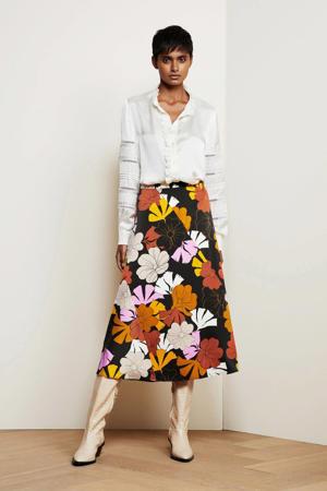 gebloemde rok Claire van gerecycled polyester zwart/ geel