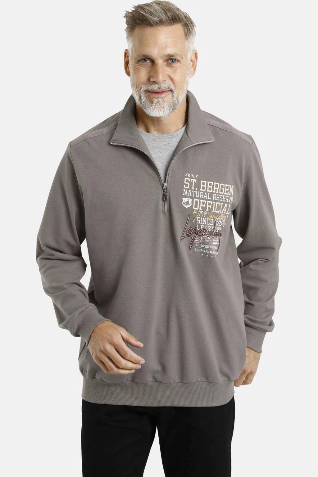 Jan Vanderstorm sweater Plus Size Folke met printopdruk grijs, Grijs