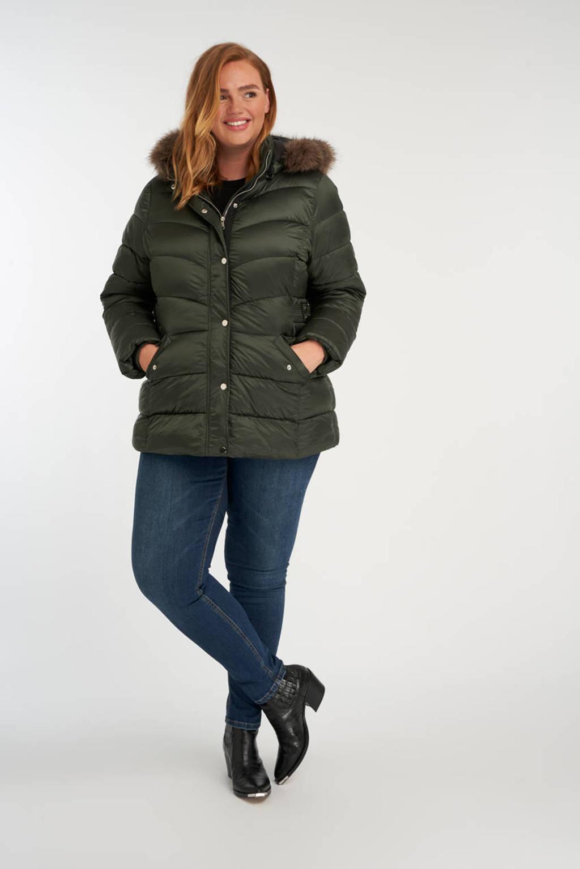 MS Mode gewatteerde jas donkergroen, Donkergroen