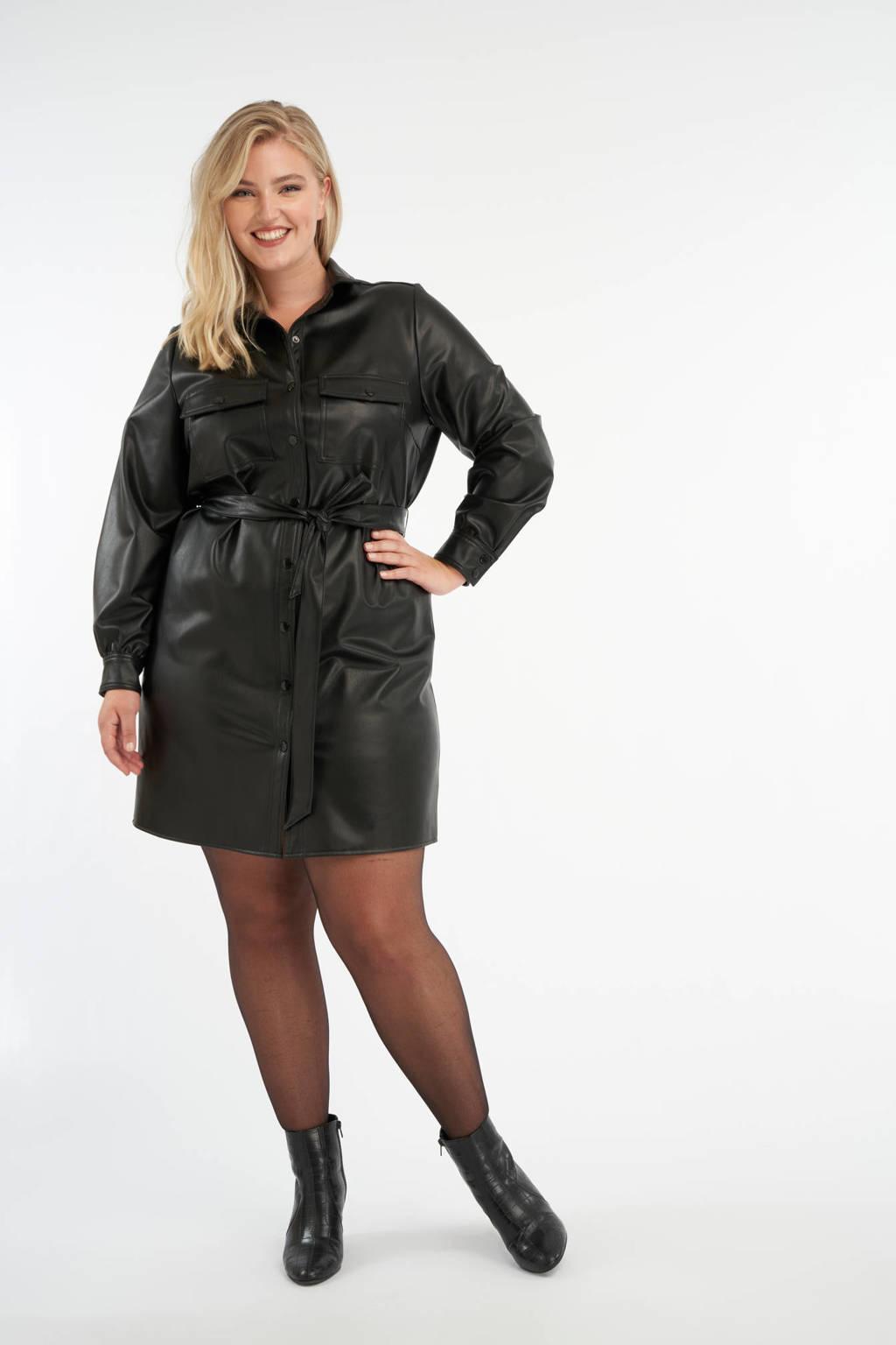 MS Mode imitatieleren blousejurk met ceintuur zwart, Zwart