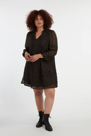 semi-transparante jurk met all over print zwart/wit/goud